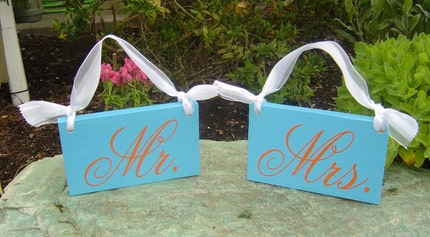 MR. and MRS. and  THANK YOU......  2 SIDED SIGNS....  elegant Turquoise and Orange signs. Can be done with BRIDE and GROOM or THANK YOU and in your wedding colors.