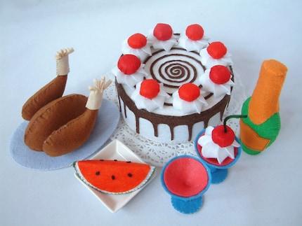 Felt food pattern Black forest cake,roast chicken,wine,watermelon---PDF Pattern via Email--F24