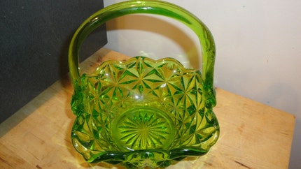 Vintage Green Vaseline Glass Basket Candy Dish Diamond Pattern with Applied Handles
