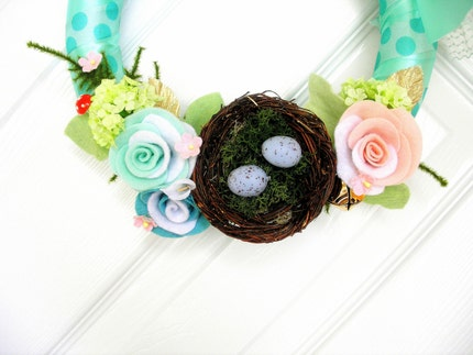Robin's Egg and Champagne Ribbon Wreath