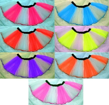 Neon tutu  skirt Stripe hen party dance party fancy costume dress clubwear