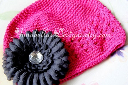 Hot Pink Crochet Hat with Black Gem Center Daisy - Interchangeable - Toddlers/Girls