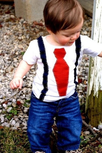 hey little mister tie and suspenders applique on american apparel cotton tee