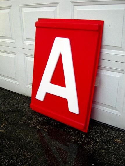 Vintage HUGE red LETTER A signage