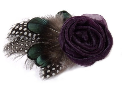 Deep Purple Organza and Feather Fascinator Hair Clip READY TO SHIP
