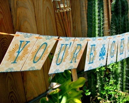 You're Getting Hitched Paper Garland Party Banner Great Wedding Shower Decor