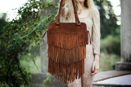 Fringe Brown Leather Bag // Made to order //