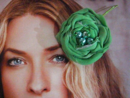 Green Emerald cotton rosettes flower Bobby pin set 2