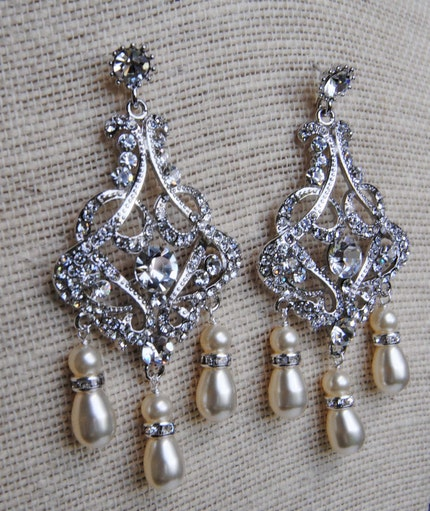Bridal Chandelier Earrings made with Swarovski Crystals