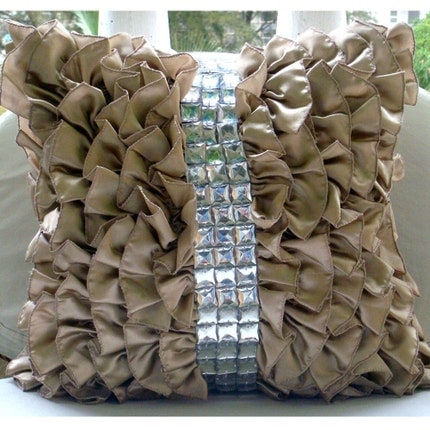 The HomeCentric Vintage Diamonds  - 24x24 inches Square Decorative Throw Beige Satin Sham Covers with Satin Ruffles & Crystals at Sears.com