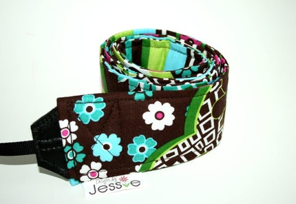 Funky Floral in Brown Camera Strap