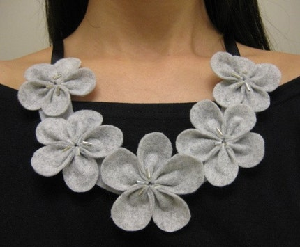 Eco Friendly Felt Flower Bib Necklace - Heather Gray - Black or Cream Ribbon