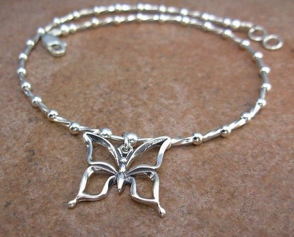 ANKLET - Sterling Silver Butterfly - Choose Size