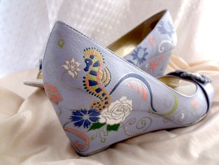 Custom Hand Painted 'Slight Summer Sea' Bridal Leather Peep-toe Wedges Matched to Fabric Swatch - OOAK