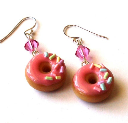Strawberry and Sprinkles Donut Earrings