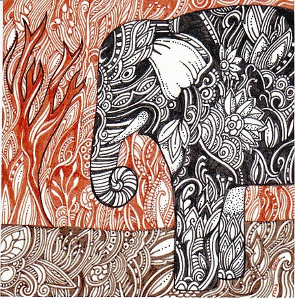 Royal Elephant original art by Megan Noel