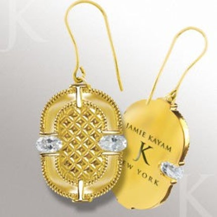 Round Corners Fashion Earrings in 14KT Gold Plated Silver with Crystals