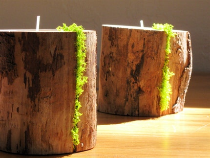 Driftwood and MOSS Candle Holders set of 2 for Green Living ... woodland (bx2.5/2)
