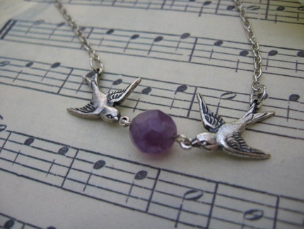 Reserved listing - precious cargo set of three necklaces in amethyst for Alyssa