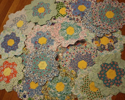 36 Vintage Grandmother's Flower Garden Hand-Sewn Hexagon Quilt Blocks -- BEAUTIFUL
