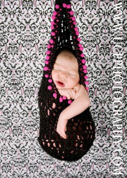 Newborn 2 in 1 Black Sling aka Cocoon with Pink Pom Pom Trim