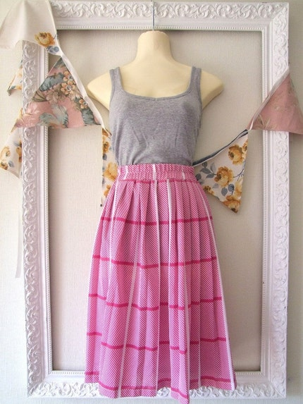 Bright Day Pink and White Pleated Skirt