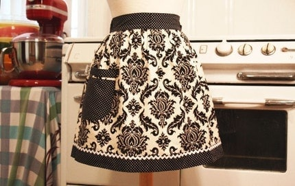 Vintage Inspired Black and White Damask Half Apron
