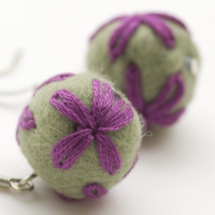 Felted earrings Candy