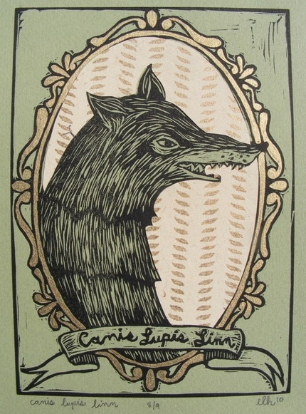 Canis Lupis Linn Linoleum Print