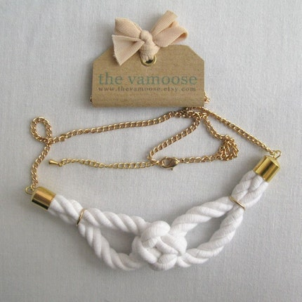 sailor knot necklace in white and gold