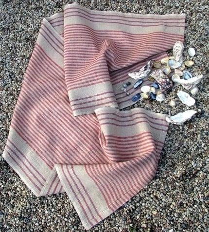 Pink  Jazzy Linen Flax Beach Towel