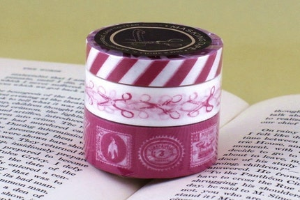 Airmail Tape, Scissors, Postage Stamps - PINK Japanese Washi Tape set of 3