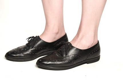 VTG 80's Lace Up OXFORD Wingtip BROGUES 9