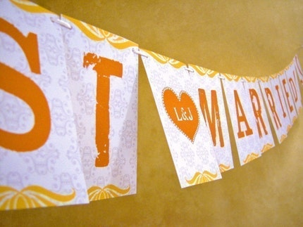 Personalized Just Married Sunshine Paper Garland Party Banner Great for Weddings