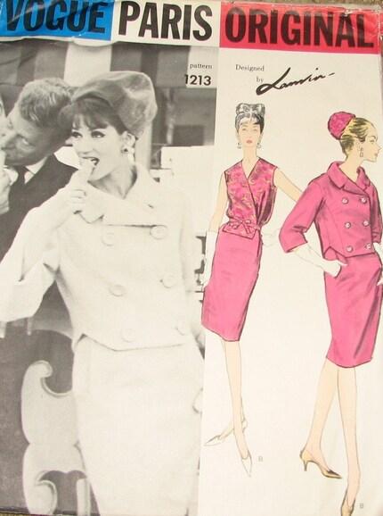 Lanvin Suit and Blouse 1960s Vintage Sewing Pattern VOGUE PARIS ORIGINAL 1213, UNCUT