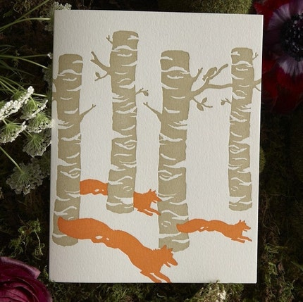 Birch Foxes Letterpress Card