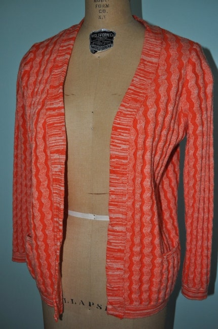 orange white 70s open sweater M/L