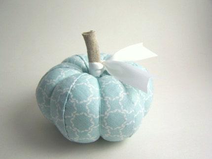 Handmade Pumpkin Pincushion in Tiffany Blue