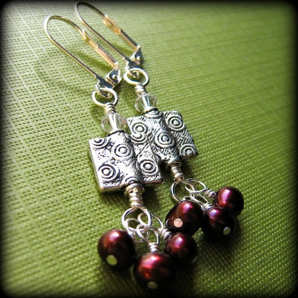 Handmade Beaded Wire Wrapped Earrings by BrossARTaddiction on Etsy