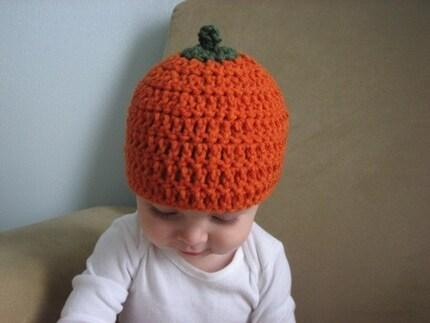 pumpkin head baby beanie - 12-24 months
