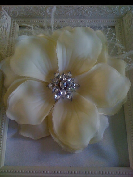 STUNNING IVORY  FLOWER WITH SHIMMERING by Emerald Diamond Fascinators on Etsy from etsy.com