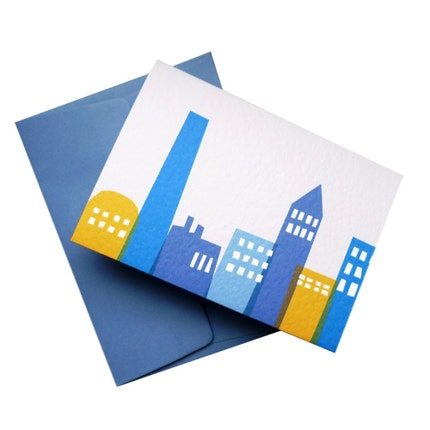 Set of Six 'Big City Nights' Personalised Moving Cards