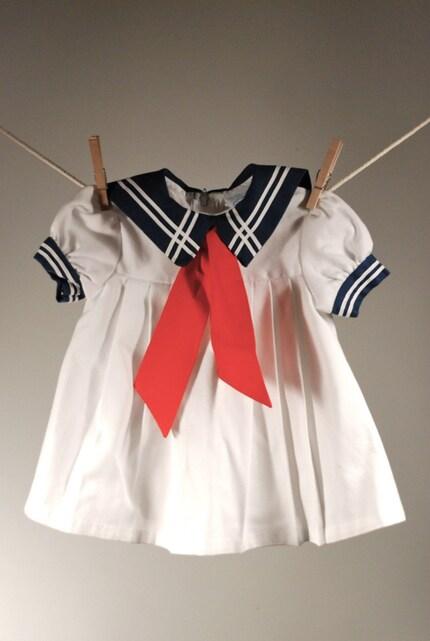 Vintage Girls Nautical Sailor Dress, 2T