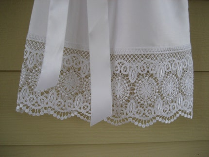 White Pillowcase Dress with Lace - you choose the size 3m to 5T....PERFECT FOR FLOWER GIRLS, BAPTISMS, AND THE BEACH.....LAST ONE