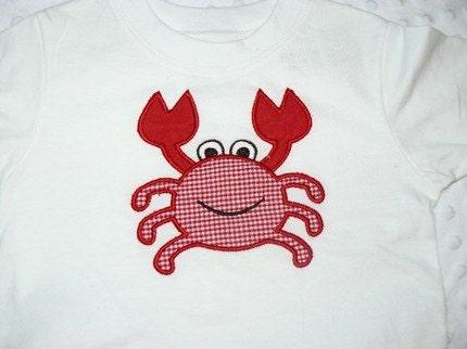 SALE SALE SALE boys red gingham crab applique summer shorts set
