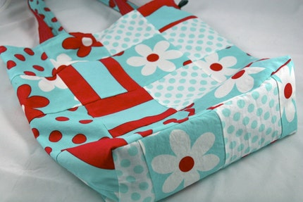 Red and Aqua Tote Bag