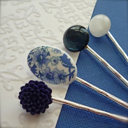 Navy Blues  Hair Pin Set