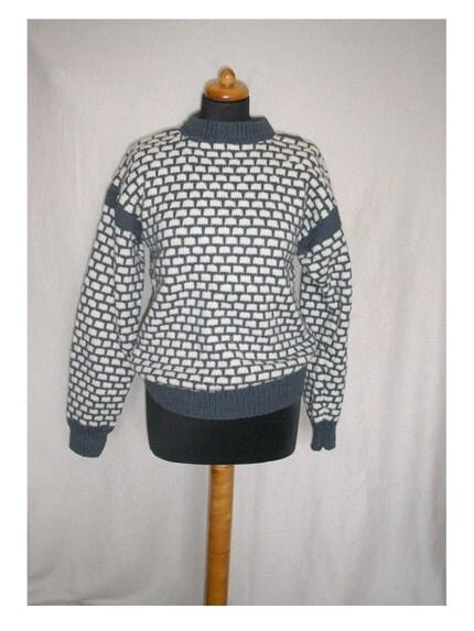 Handknit wool men's sweater size M by Greatshop on Etsy
