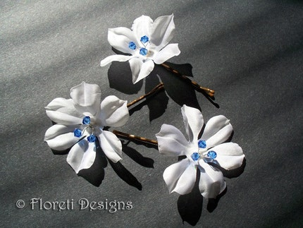White Camellia Petite Bridal Hair Pin w Blue Crystals, One -Ready Made by floreti from etsy.com