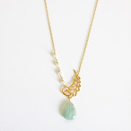 sierra necklace    .     amazonite blue and pearl          .
